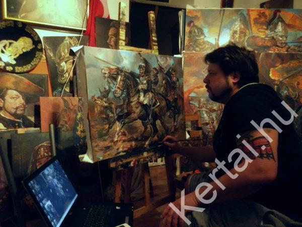Kertai Zalán festőművész munka közben